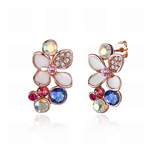 Environmental Rose Gold Lady Drilling Stud Earrings/Antistatic/Silver Shining/Diamond Ring/Small and Exquisite,Colour:Picture color Bracelets Earrings Rings Necklaces (Color : Picture color)