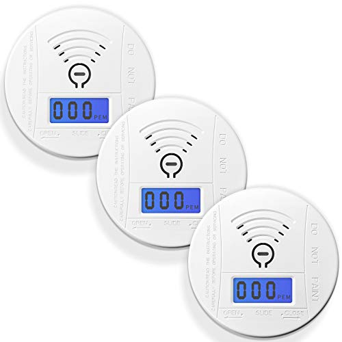 Carbon Monoxide Detector,3-Pack Ayzaw CO Gas Alarm Detector Carbon with LCD Digital Display,Battery Powered
