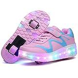 Unisex Bambino LED Scarpe con Rotelle Ricarica USB Lampeggiante Luminosi Formatori Doppia ...