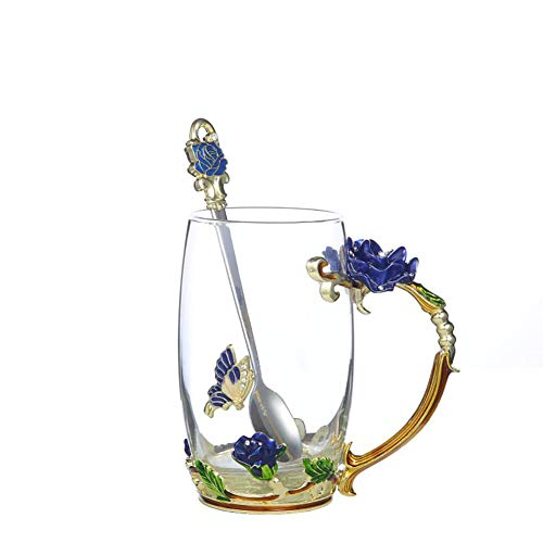 Handicraft Crystal Glass 3D Flower Cups Tea Mug With Tea Spoon Women Coffee, Tea, Juice, Beer, Milk Hot And Cold Drinks Use Gift Package. (Rose Blue Coffee Cup, 12 OZ)