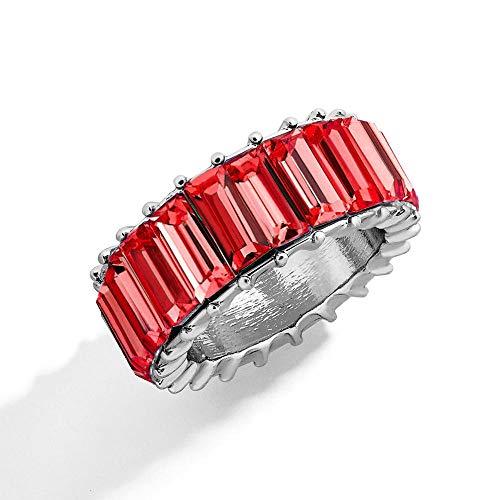 LYWZX Anillo Mujer Ajustable Boho Rainbow Crystal Silver Ring Mujer Moda Brillante Baguette Cubic Zirconia Color Anillo De Piedra Mujer Wedding Party Jewelry-Size_9_Ri0052_Red