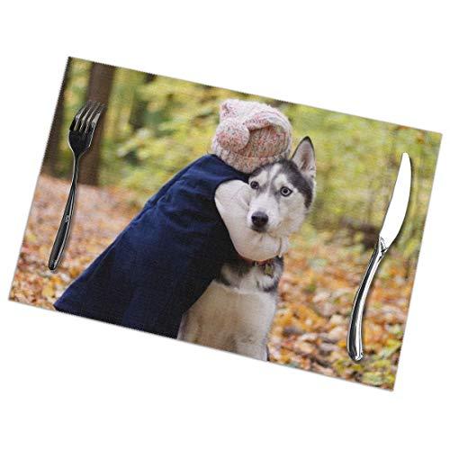 Peuter knuffelen Siberische Husky Placemat Wasbaar Voor Keuken Diner Tafelmat, Gemakkelijk te reinigen Makkelijk Te Vouwen Plaats Mat 12x18 Inch Set Van 6