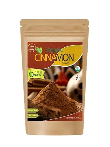 True Organic Ceylon Cinnamon Powder 16 Oz - USDA & Kosher Certified , Gluten-Free & Non-GMO Cinnamon Ground , Pure Ceylon Premium Quality [ Bulk , 1 lb ]