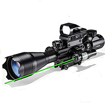 Rifle Scope Combo 4-16x50EG Dual Illuminated with Laser Sight and 4 Holographic Reticle Red/Green Dot for 22mm Weaver/Rail Mount  Green Laser