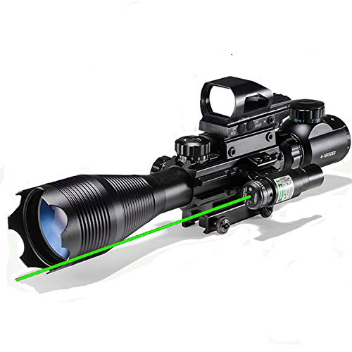 4-16x50EG Rifle Scope Combo Dual Illuminated with Green Laser Sight and 4 Holographic Reticle Red/Green Dot for 22mm Weaver/Rail Mount