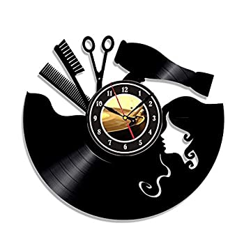 Vintage Vinyl Record Wall Clock Hairdresser Hair Barber Salon Beauty Salon Vinyl Clock Wall Decor Art Decorations Unique Handmade Decor Laser Cut Vinyl