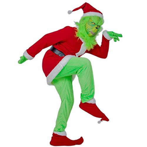 DealTrade Weihnachtsmann Kostüm Cosplay Christmas Rot Outfit Top & Hosen & Gürtel & Weihnachten Hut für Erwachsene Halloween Costume Anzug