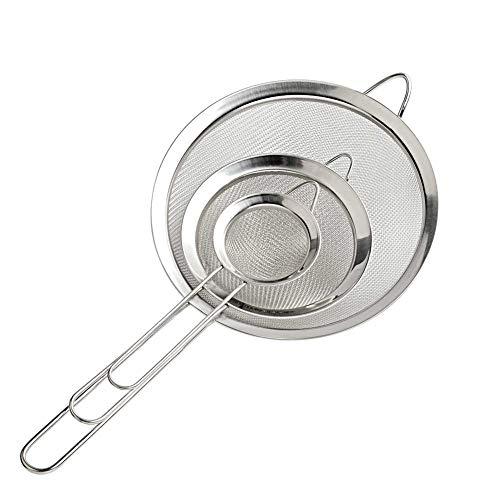 Cymax 3 Pezzi 7/12/18 cm Setaccio/Filtro/Colino/Scolapasta in Acciaio Inox a Maglia fine con Maniglia da Cucina per Pasta/Riso/Verdura/albume, ECC