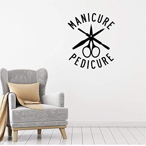Outils De Manucure Pédicure Stickers Muraux Autocollant Amovible Salon De Beauté Décoration De Fenêtre Murale Peintures Murales Autocollants En Vinyle Soins Des Ongles 56X66Cm