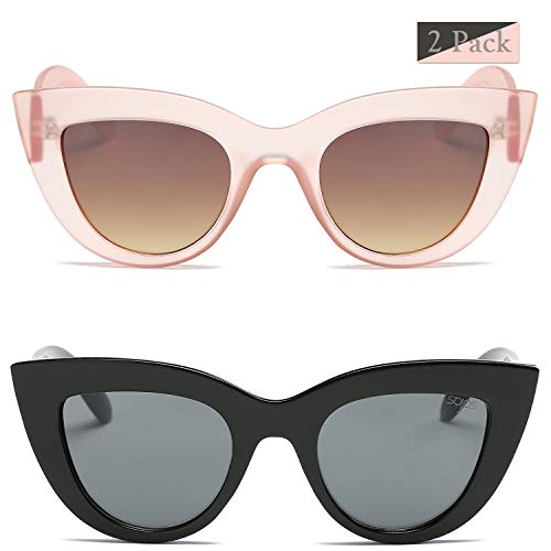 SOJOS Retro Vintage Cateye Sunglasses for Women Plastic Frame Mirrored Lens SJ2939 with Pink/Gradient Brown + Black/Grey 2 Pairs of Sunglasses
