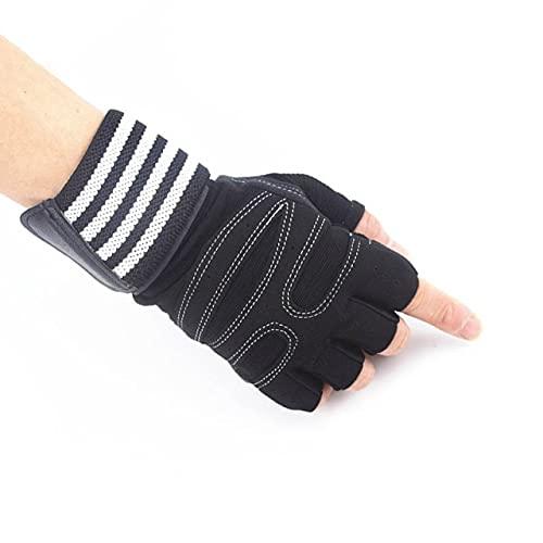 Guantes de Levantamiento de Pesas con Soporte para la muñeca para Ejercicios Pesados Body Building Gym Training Fitness Handschuhe Workout Gloves-White gloves-1-XL