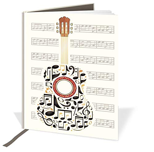 Cuaderno de tapa dura A6 – Diseño de guitarra y notas musicales – 120 páginas – rayas y cinta de seda – Tamaño – 148 mm x 105 mm