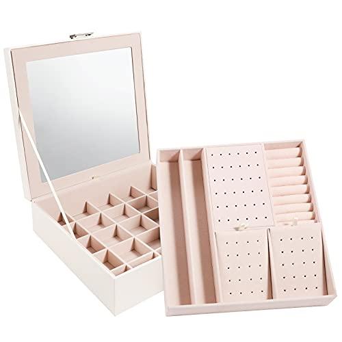 Tikea Joyero Grande, Estuche Joyas de Almacenamiento, 26x26x9cm, 2 Capas Caja de Joyas con Espejo, Organizador de Joyas para...