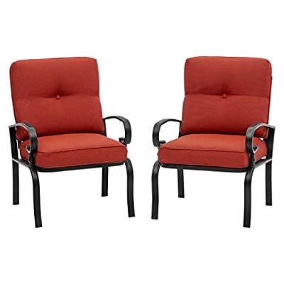 Incbruce Outdoor Indoor Patio Furniture Bistro Dining Chairs Set of 2 Steel Frame Club Chairs, All-Weather Garden Seating Chair (Red)