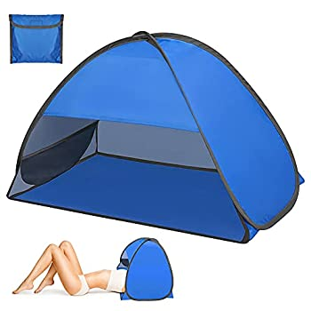 Tente de plage, zootop tente de plage escamotable pour 1 à 2 personnes, abri de soleil pour tente de plage portable avec support de téléphone et sac de rangement, pour l'extérieur (27,56*19,69*17,7in)