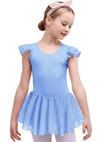 Bricnat Mädchen Ballettkleidung Ballettkleid Tanzbody Gymnastikanzug Balletttrikot Kurzarm Tanzkleid mit Tütü Kinder Baumwolle Blau 130