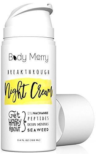 Body Merry Anti vieillissement hydratants crème de nuit à 5% NIACINAMIDE + algues pour lutter contre les rides, lignes, l'acné et taches - 3,4 oz
