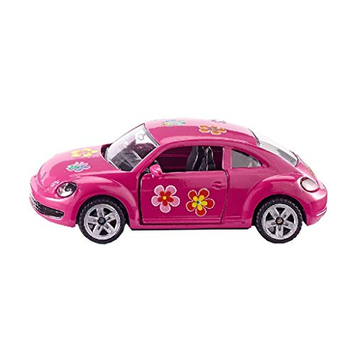 SIKU 1488, VW The Beetle, Metall/Kunststoff, Pink, Öffenbare Türen, Aufkleberbogen zur individuellen Gestaltung