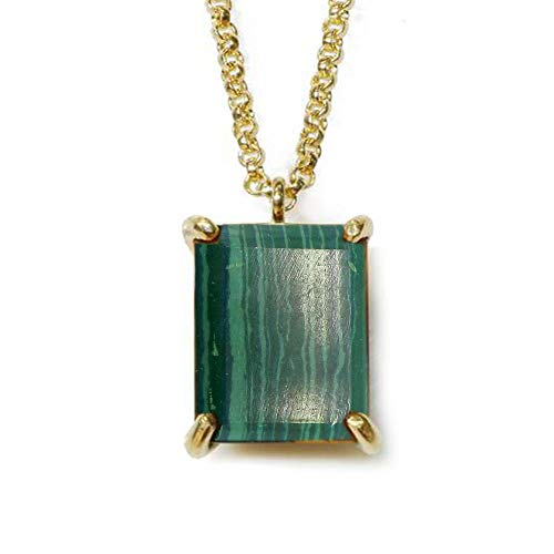 JewelryGift Original Malachite Pendant with Chain Faceted Gemstone Green 18k Gold Plated Fashion Jewelry Necklace for Girls