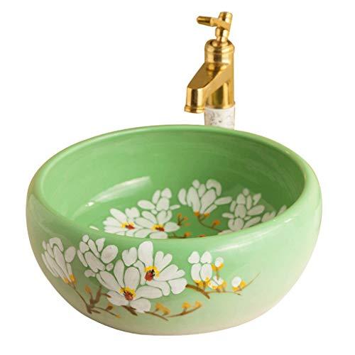 LYM wastafel, badkamer tegenober garderobe wastafel keramiek ronde Art Basin (zonder kraan) -42x17cm