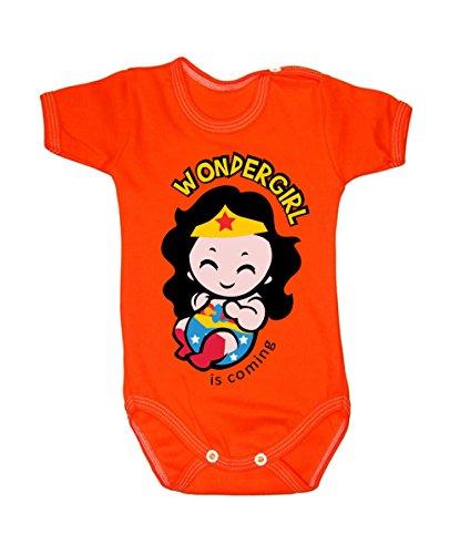 BColour Fashion Body Wonderwoman pour bébé, taille 24 mois, 100 % coton Orange 9-12 months, 80 cm