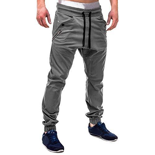 Mode Männer Reißverschluss Patchwork Baumwolle Casual Jogginghose Kordelzug Fashion Men's Personality Casual Beam Trousers Stretch Einfarbig Slim Fit Sport Streetwear Jogginghose(Grau,XL)
