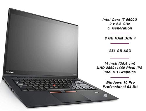 Lenovo ThinkPad X1 Carbon 3 Mobiles Notebook, Intel i7 2.6 GHz Prozessor, 8 GB Arbeitsspeicher, 1000 GB SSD, 14 Zoll Display, WQHD, 2560x1440, IPS, Windows 10 Pro, D68 (generalüberholt)