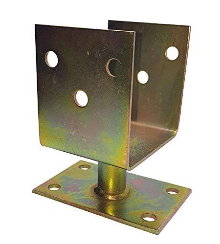 KFZ Support de poteau en forme de U pour le vissage, support de support de poteau Support de support de selle pour encastrer dans le béton, MU-FI (150x120x85mm)