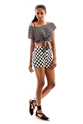Women's black and white check shorts