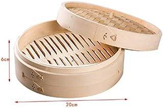 Vaporera de bambú con tapa para cocinar al vapor. Cesta de