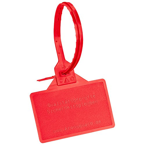 Kronsguard Kunststoffplombe Pfand, Farbe: rot, 50 Stück, Fahne=80x50 mm, Länge=340 mm, Breite=7 mm
