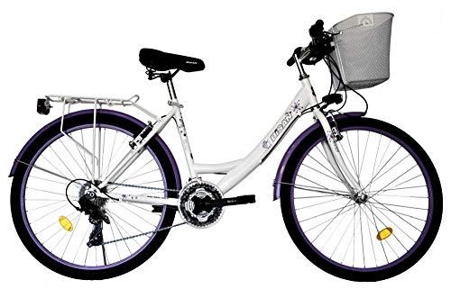 T&Y Trade 24 Zoll Kinder Mädchen Damen City Fahrrad Damenfahrrad Cityfahrrad Citybike Mädchenfahrrad Bike Rad 21 Gang Beleuchtung STVO 5100 Weiss LILA