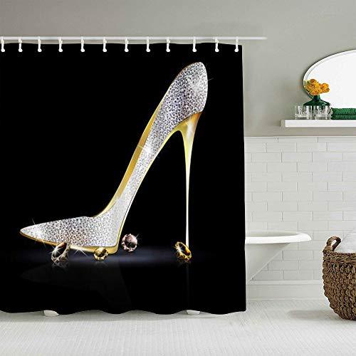 DAHALLAR Duschvorhang,High Heels Shining Diamond Charming Woman,personalisierte Deko Badezimmer Vorhang,mit Haken,180 * 180
