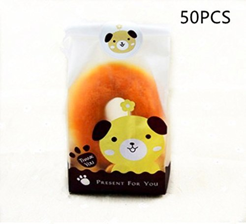 A Little Lemon Clear Treat Bag Cookie Bag 50-pieces with 60 Free Stickers (Puppy)