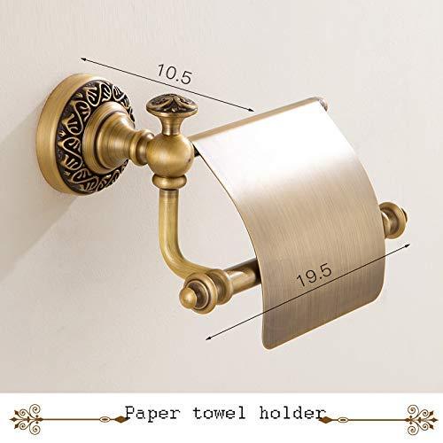 JALAL Europäischer antiker Handtuchhalter, Kupfer-Handtuchhalter, Badezimmer-Set Badezimmer-Hardware-Anhänger Brushed Finish Wandhalterung-H