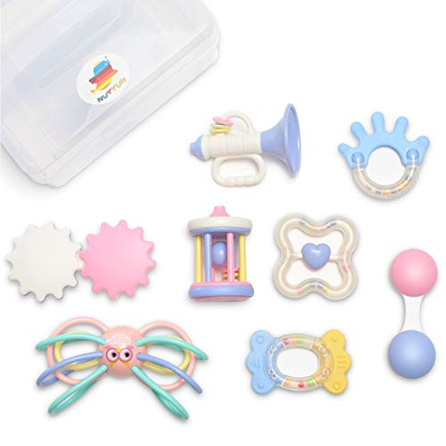 NUYYUN Baby Rattle Teether Toys8Pcs Infant Grasping Grab and Shake Toys Set with SoundCandy Color Early Educational Toys with Storage BoxGift for 3 6 9 12 Months Newborn Toddlers Boys Girls