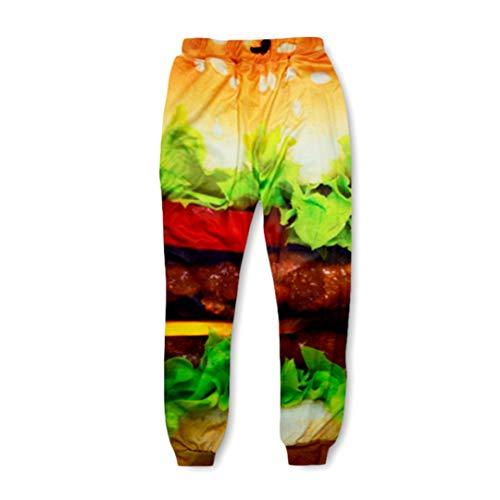 KRDFENS - Pantalones casuales para hombre y mujer, diseño de hamburguesas con...