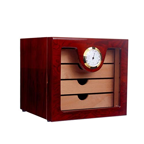 ADSE 4 Drawers High Glossy Finish Wooden Cigar Cabinet Humidor Storage Box...