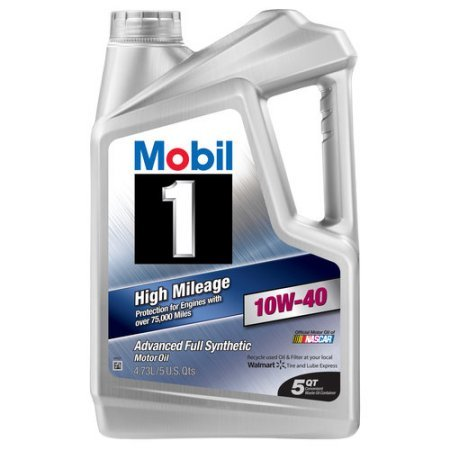 Mobil 1 10W-40 High Mileage Full Synthetic Motor Oil, 5 qt.