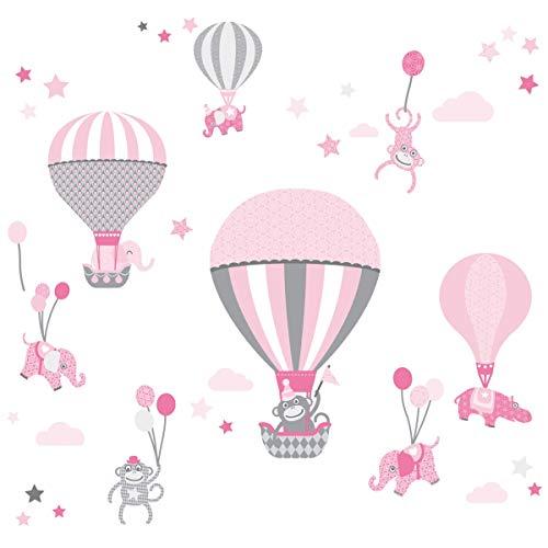 Anna Wand Wandsticker HOT AIR Balloons ROSA/GRAU - Wandtattoo für Kinderzimmer/Babyzimmer mit Heißluftballons - Wandaufkleber Schlafzimmer Mädchen & Junge/Wanddeko Baby/Kinder / 2 DIN A4 Bögen