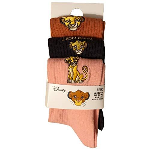 Primark Limited - El Rey Leon Socks - Pack 3 Calcetines para zapatos para Mujer (EU 37-42, UK 4-8) Con Licencia Oficial Disney