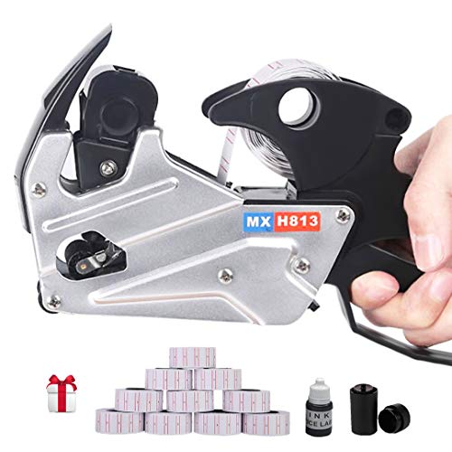 MX-h813 Price Tag Gun for Clothing Tags -Price Stickers-Expiration Date Stamp-Gun Stickers, 1 line Label Gun, Date Sticker Gun | Include: A Price Gun,10 Roll Labels,1 Ink Wheels,1 Ink