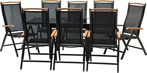 IB-Style - DIPLOMAT-Quadro Gartengarnitur | 6 Kombinationen - mit Klappstühle | Alu SCHWARZ + TEAKHOLZ + Textilen SCHWARZ | 6 Kombinationen | Ausziehtisch mit Sicherheitsglas 90 - 180 cm | Klappstühle Gartenmöbel Hochlehner Tisch | 9-teilig