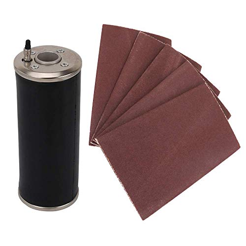 Pneumatic Drum Sander Rubber Sleeve Tube Sanding Drum with 5Pcs 120 Grit Drum Sanding Sleeves for Polishing Wood with Other Processing Materials(85mmx215mm)