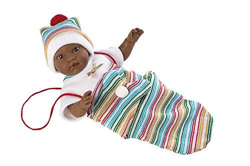 Llorens Puppe Cuqui, mit braunen Augen und weichem Körper, Babypuppe inkl. weißem Stampler und buntem Wickeltuch, Größe 30cm, mehrfarbig, 30008
