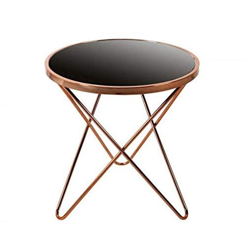 NSYNSY Mesas auxiliares de silla, mesas de té de café, mesa redonda pequeña decoración de sala de estar de hierro forjado, mesa de noche, mesa de noche, mesa de lectura