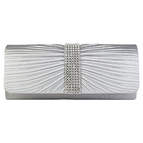 Eleoption Damen-Handtasche aus Satin, Clutch-Handtasche, plissiert, mit Strasssteinen bestückter Bügel, für Hochzeit oder Abschlussball, Grau - grau - Größe: X-Large