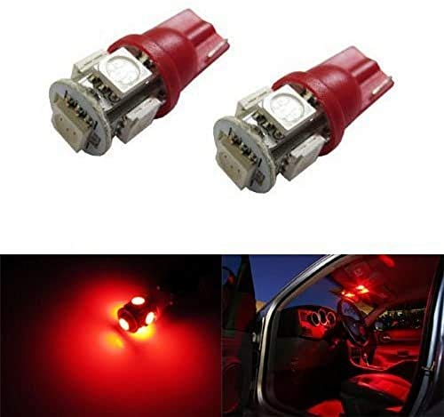 iJDMTOY 5-SMD 168 194 2825 T10 LED Car Interior Map Dome Light Bulbs, Brilliant Red