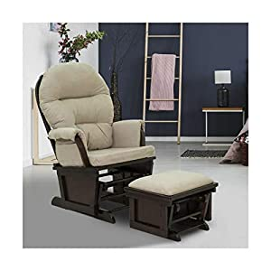 2PC Nursery Glider Rocking Chair with Ottoman Set – Suede Footrest Sofa • Elite Trading Post
