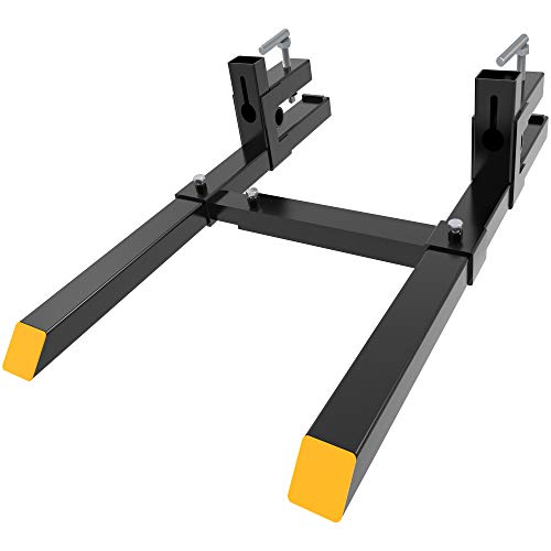 "YINTATECH 4000lbs Clamp on Pallet Forks 60"" Heavy Duty Pallet Forks with Adjustable Stabilizer Bar for Loader Bucket Skidsteer Tractor"